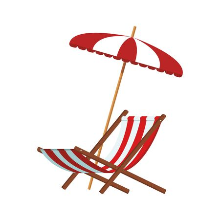 beach umbrella and chair over white background, vector illustration