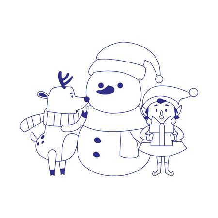 cartoon snowman with christmas elf and deer over white background, vector illustration