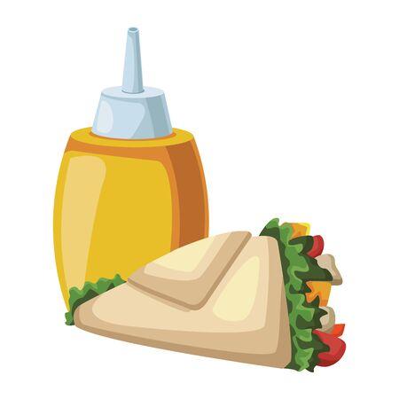mustard sauce bottle and wrap icon over white background, fast food design, vector illustration Illusztráció