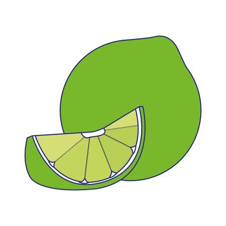 green lemon icon over white background, vector illustration