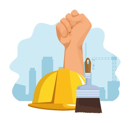 hand up with safety helmet and paint brush over white background, colorful design , vector illustration