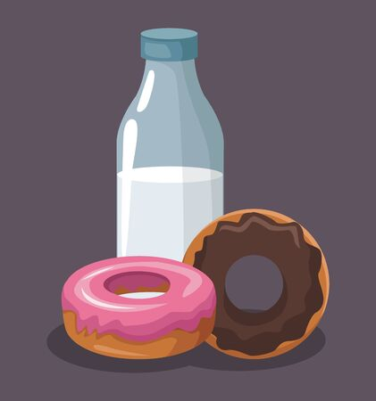 sweet donuts and milk bottle over gray background, colorful design, vector illustration 向量圖像
