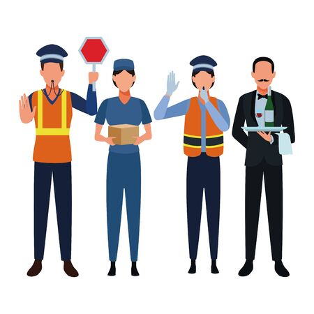 Jobs and professions professionals workers isolated vector illustration graphic design 일러스트