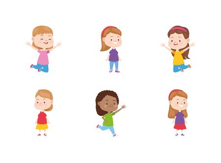 cartoon happy little girls icon set over white background, colorful design. vector illustration 일러스트