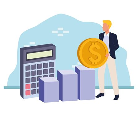 avatar businessman holding a money coin and calculator over white and blue background, colorful design , vector illustration