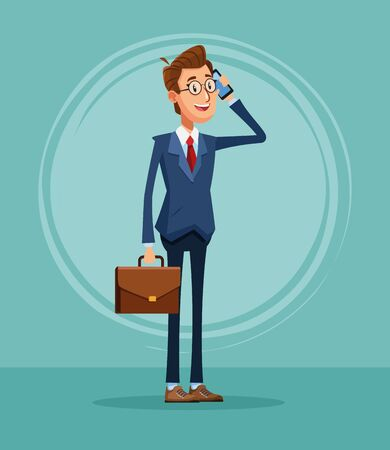 Businessman banker talking on the phone and holding briefcase cartoon vector illustration graphic design Illustration