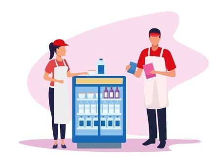 avatar supermarket workers next to beverages fridge over white background, colorful design , vector illustration