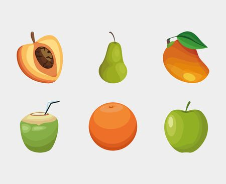 Fruits icon set design, Healthy organic food sweet nature juicy and tropical theme Vector illustration Illustration