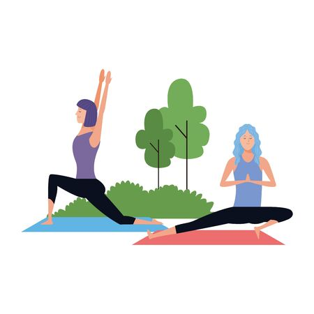 young women practicing yoga at outdoors icon over white background, vector illustration
