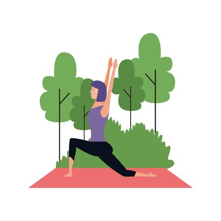 young woman practicing yoga at outdoors over white background, vector illustration Illustration
