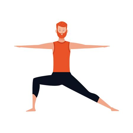 man practicing yoga icon over white background, vector illustration