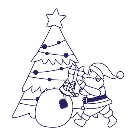 christmas tree and santa claus with the bag of gifts over white background, vector illustration