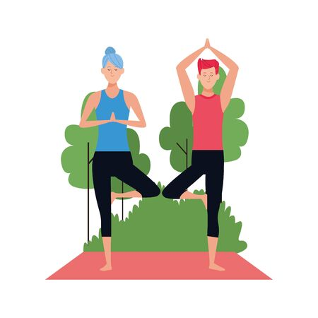 man and woman practicing yoga at outdoors over white background, vector illustration