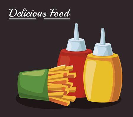 french fries and sauces bottles over black background, colorful design , vector illustration Ilustração