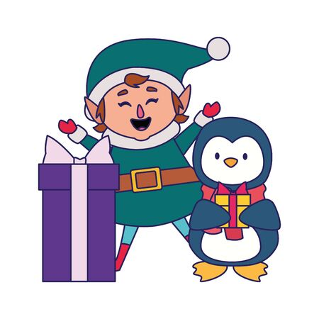 christmas elf and cute penguin with gift box over white background, vector illustration Ilustrace