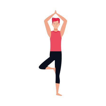 cartoon man doing yoga tree pose icon over white background, colorful design , vector illustration Illustration