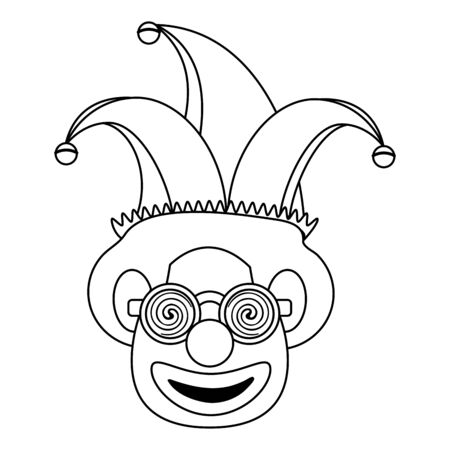 Clown face with glasses and hat cartoon Design
