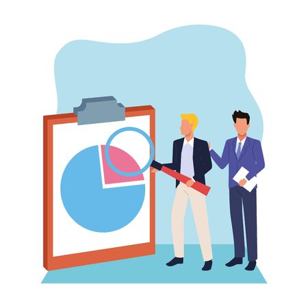 avatar businessmen pointing a clipboard over white and blue background, colorful design , vector illustration 向量圖像