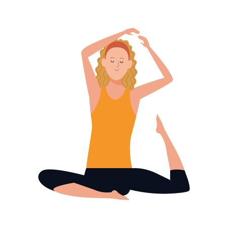 woman practicing yoga icon over white background, vector illustration 일러스트