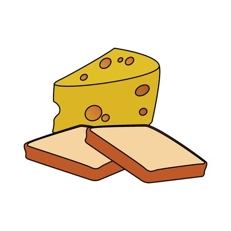 loaf and cheese piece icon over white background, vector illustration