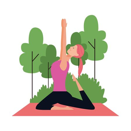 cartoon woman doing yoga warrior pose at outdoors over white background, colorful design , vector illustration