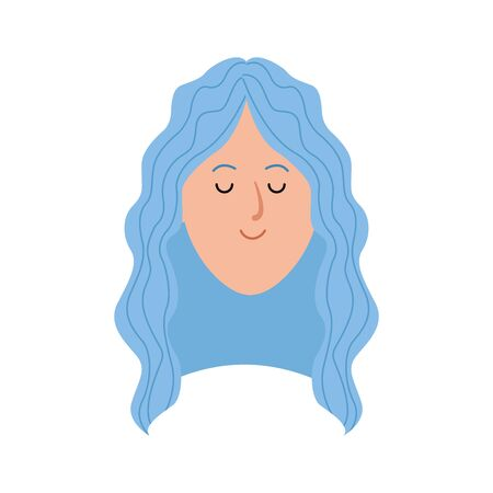 woman face icon over white background, vector illustration