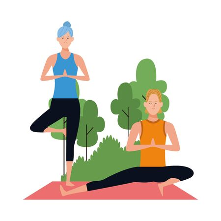 cartoon man and woman doing yoga poses at outdoors over white background, colorful design , vector illustration