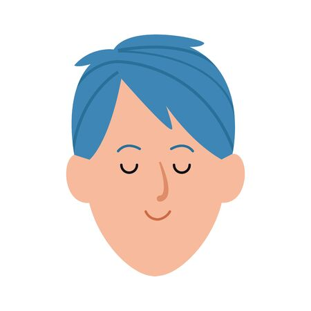 cartoon man with blue hair icon over white background, vector illustration