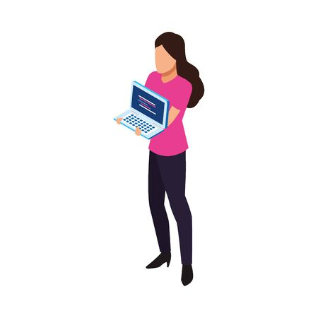 avatar woman holding a laptop computer icon over white background, vector illustration 일러스트