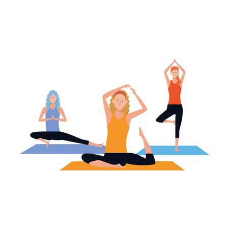 young women doing yoga over white background, colorful design , vector illustration