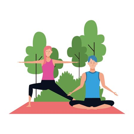 young couple doing yoga at outdoors over white background, colorful design , vector illustration
