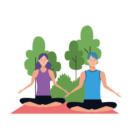 cartoon man and woman doing yoga lotus pose at outdoors with trees over white background, colorful design , vector illustration