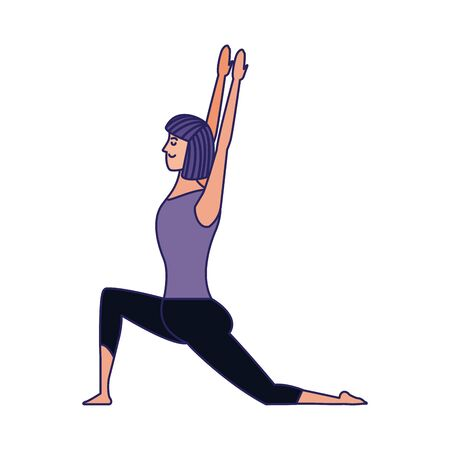 cartoon woman doing yoga icon over white background, colorful design , vector illustration