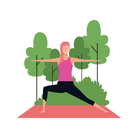 woman doing yoga at outdoors with trees over white background, colorful design , vector illustration