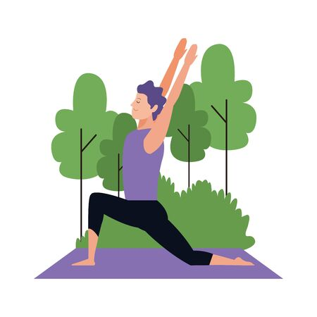 man practicing yoga pose at outdoors over white background, vector illustration 일러스트
