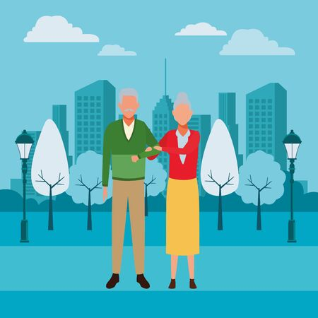 old couple avatars arm holding at park in cityscape vector illustration graphic design Иллюстрация