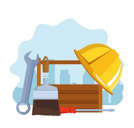 repair tools and box with safety helmet over white background, colorful design , vector illustration 일러스트