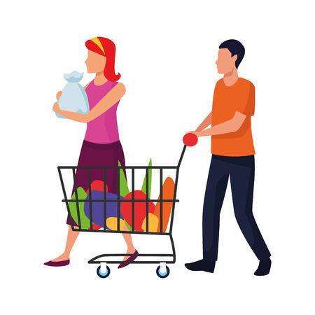 avatar woman and man with supermarket car and bags over white background, vector illustration