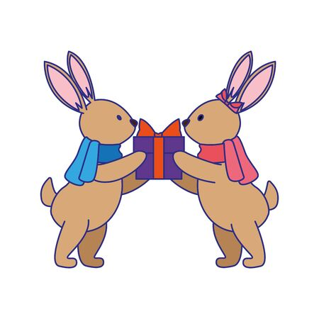 cute rabbits with gift box over white background, vector illustration