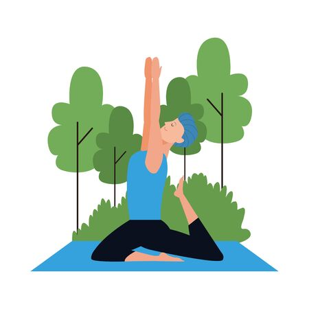 young man practicing yoga at outdoors over white background, vector illustration