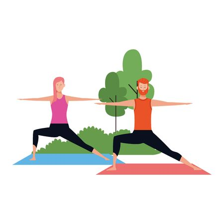 young woman and man practicing yoga poses at outdoors icon over white background, vector illustration