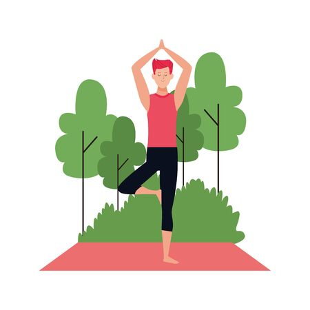 man practicing yoga at outdoors over white background, vector illustration