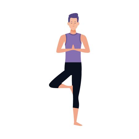 man practicing yoga tree pose icon over white background, vector illustration 일러스트