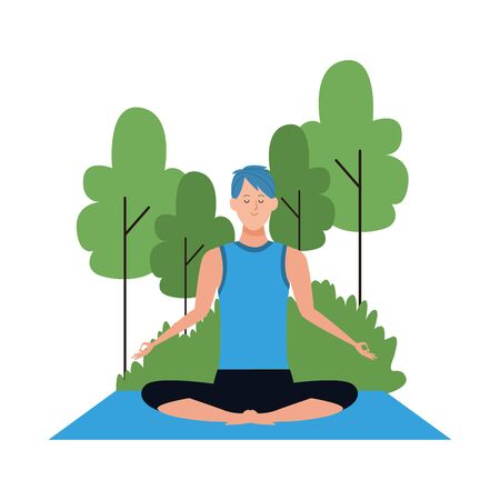 cartoon man doing yoga lotus pose at outdoors with trees over white background, colorful design , vector illustration Illustration