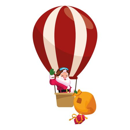 santa claus in a hot air balloon with bag and gift box over white background, vector illustration Ilustração