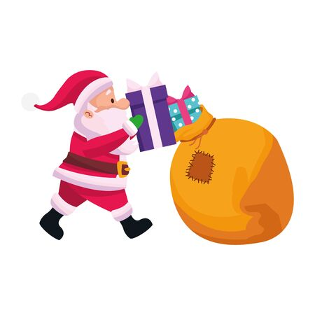cartoon santa claus putting the gifts in the bag over white background, vector illustration