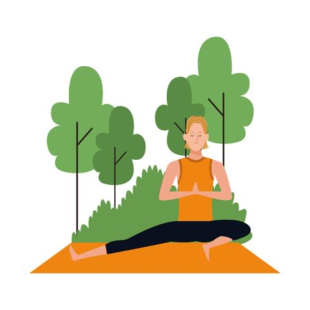 cartoon man doing yoga pose at outdoors with trees over white background, colorful design , vector illustration