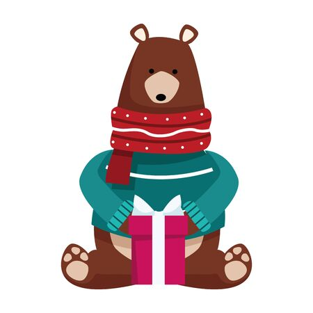 christmas bear with gift box icon over white background, vector illustration