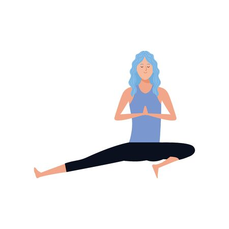 young woman practicing yoga icon over white background, vector illustration 일러스트