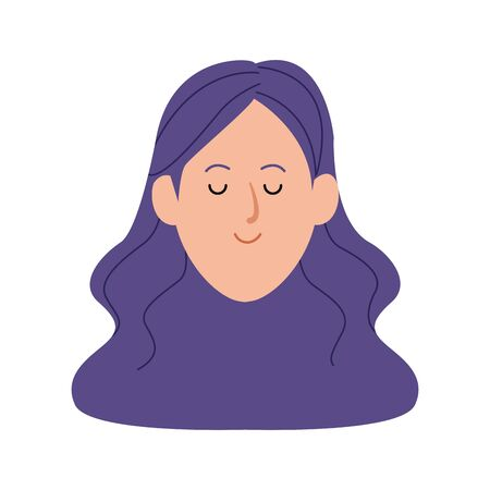 woman face with long hair icon over white background, vector illustration 일러스트